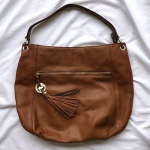 Michael Kors Brown Leather Medium Bag With Tassel
